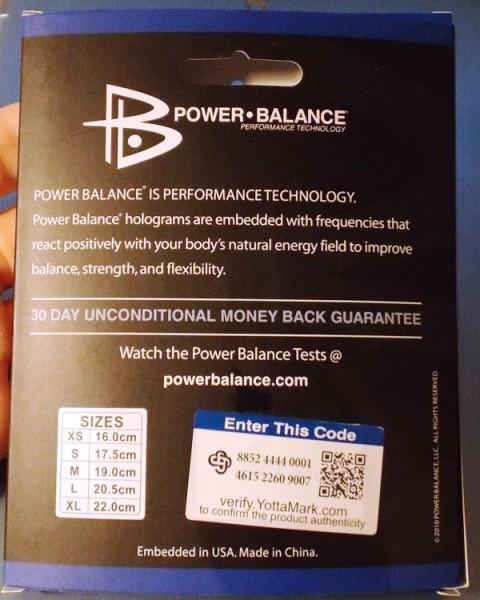Power Balans обратная сторона упаковки