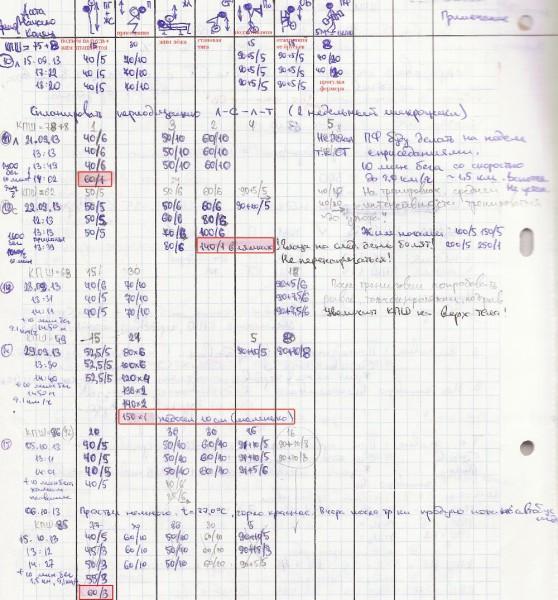 Дневник тренировок 2013