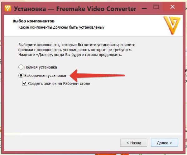 делаем выборочную установку компонентов программы Freemake Video Converter