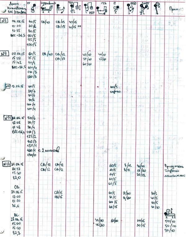 Дневник тренировок 2015 (июнь)