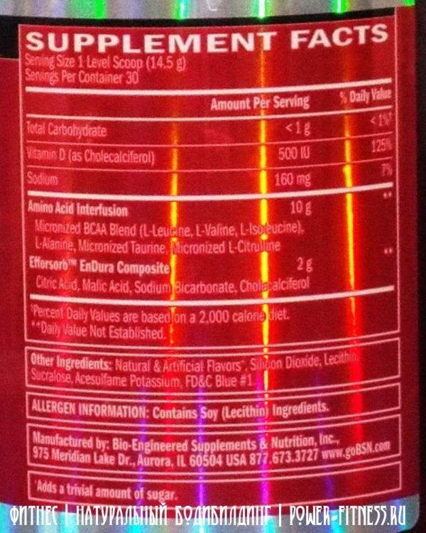 Аминокислоты BSN Amino-X (состав)