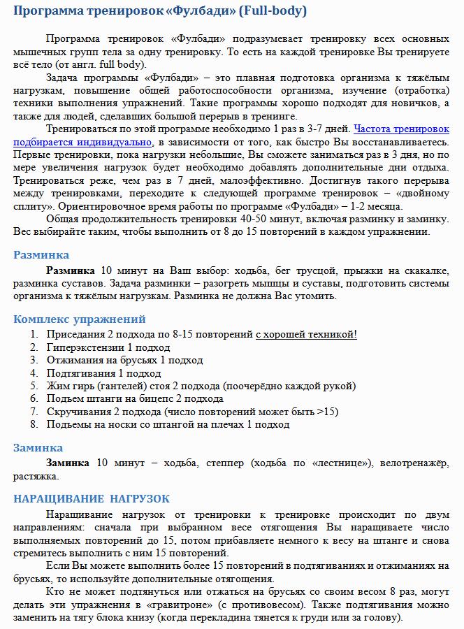 """Базовый комлпекс упражнений """"Фулбоди"""""""